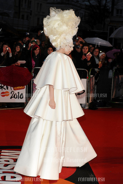 Lady Gaga arriving for the Brit Awards 2010 at Earls Court, London.  16/02'2010  Picture by:  Steve Vas / Featureflash