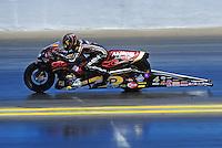 Jul. 18, 2010; Sonoma, CA, USA; NHRA pro stock motorcycle rider Matt Smith during the Fram Autolite Nationals at Infineon Raceway. Mandatory Credit: Mark J. Rebilas-