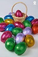 Easter eggs, one in basket, close-up (Licence this image exclusively with Getty: http://www.gettyimages.com/detail/200471507-001 )