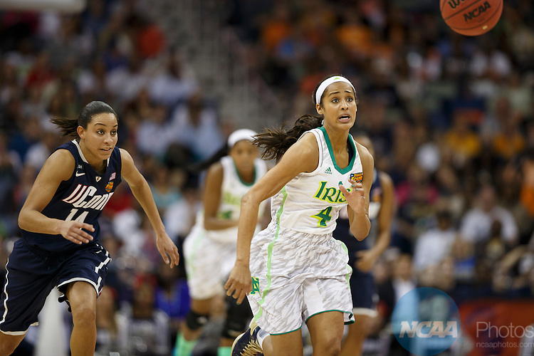 07 Apr 2013:    University of Notre Dame guard Skylar Diggins (4) and University of Connecticut guard Bria Hartley (14) chase down a loose ball in the semifinals of the 2013 Division I Women's Final Four in New Orleans, LA.  Connecticut defeated Notre Dame by a score of 83-65.  ©Trevor Brown, Jr./NCAA Photos