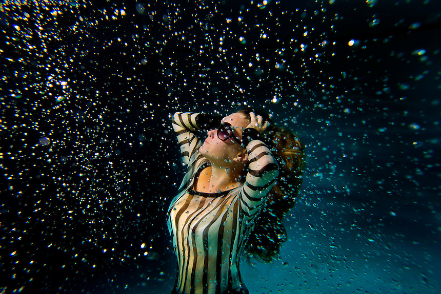 Underwater female fashion model San Diego, CA - Model released A female underwater fashion model.