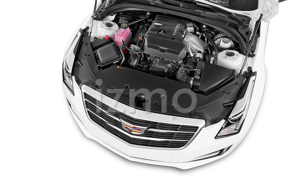 Car Stock 2015 Cadillac ATS 2.0 RWD Premium 2 Door Coupe Engine high angle detail view
