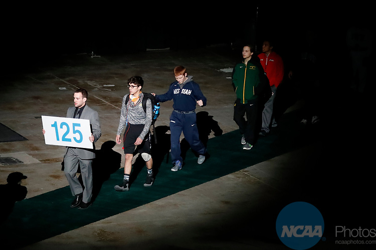 LA CROSSE, WI - MARCH 11:  The 125-pound weight class takes the stage during the Division III Men's Wrestling Championship held at the La Crosse Center on March 11, 2017 in La Crosse, Wisconsin. (Photo by Carlos Gonzalez/NCAA Photos via Getty Images)