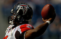 Sep 18, 2005; Seattle, WA, USA; Atlanta Falcons quarterback Michael Vick #7 warms up prior to the start of a game against the Seattle Seahawks at Qwest Field. Mandatory Credit: Photo By Mark J. Rebilas