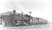 Train 425 with #473 K-28, RPO #63 &amp; coach #306 at Antonito depot at 8:05 AM.<br /> D&amp;RGW  Antonito, CO  Taken by Perry, Otto C. - 1938