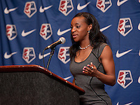 #1 overall pick Crystal Dunn of the Washington Spirit speaks during the NWSL draft at the Pennsylvania Convention Center in Philadelphia, PA, on January 17, 2014.
