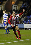 Billy Sharp of Sheffield Utd celebrates scoring the winning goal during the FA Cup match at the Madejski Stadium, Reading. Picture date: 3rd March 2020. Picture credit should read: Simon Bellis/Sportimage
