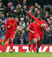 Liverpool's Georginio Wijnaldum celebrates scoring his sides first goal<br /> <br /> Photographer Rich Linley/CameraSport<br /> <br /> The Premier League - Liverpool v Burnley - Sunday 12 March 2017 - Anfield - Liverpool<br /> <br /> World Copyright &copy; 2017 CameraSport. All rights reserved. 43 Linden Ave. Countesthorpe. Leicester. England. LE8 5PG - Tel: +44 (0) 116 277 4147 - admin@camerasport.com - www.camerasport.com