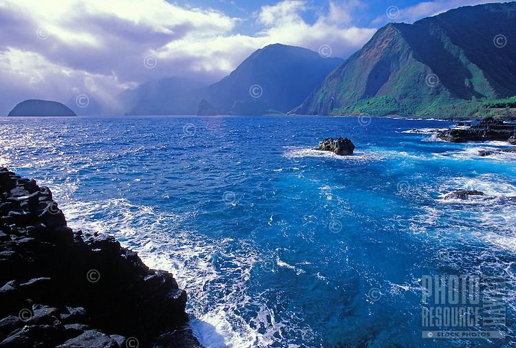 Coastal cliffs beyond the Kalawao District, Kalaupapa Peninsula, North Shore, Molokai