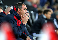 Swansea manager Paul Clement shouts instructions to his players from the bench during the Carabao Cup Fourth Round match between Swansea City and Manchester United at The Liberty Stadium, Swansea, Wales, UK. Tuesday 24 October 2017