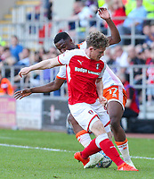 Blackpool's Viv Solomon-Otabor battles with Rotherham United's Matt Palmer<br /> <br /> Photographer Alex Dodd/CameraSport<br /> <br /> The EFL Sky Bet League One - Rotherham United v Blackpool - Saturday 5th May 2018 - New York Stadium - Rotherham<br /> <br /> World Copyright &copy; 2018 CameraSport. All rights reserved. 43 Linden Ave. Countesthorpe. Leicester. England. LE8 5PG - Tel: +44 (0) 116 277 4147 - admin@camerasport.com - www.camerasport.com