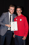 St Johnstone FC Academy Awards Night...06.04.15  Perth Concert Hall<br /> Zander Clark presents a certificate to Ross Sinclair<br /> Picture by Graeme Hart.<br /> Copyright Perthshire Picture Agency<br /> Tel: 01738 623350  Mobile: 07990 594431