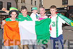 CHEERS: Cheers for the Irish team on Sunday evening as they took on Croita in their first game on the big screen in the Square, Tralee. L-r: Aurian Pigott, Peter Murphy, Eligot and Seanie Hurley and Cian Sheridan (Tralee).....