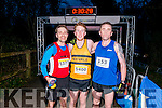 L-R Shane Simsox from Mallow (2nd place), Stephen Young from Causeway (1st place) and Tony Harty from Killarney (3rd place) at the finish line of Killarney Good Friday 5 miles Run last Friday.