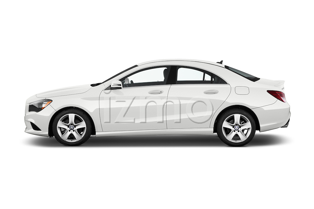 Car Driver side profile view of a 2016 Mercedes Benz CLA Class CLA250 4 Door Sedan Side View