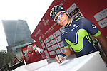 Nairo Quintana (COL) Movistar Team at sign on before the start of Stage 2 the Nation Towers Stage of the 2017 Abu Dhabi Tour, running 153km around the city of Abu Dhabi, Abu Dhabi. 24th February 2017<br /> Picture: ANSA/Claudio Peri | Newsfile<br /> <br /> <br /> All photos usage must carry mandatory copyright credit (&copy; Newsfile | ANSA)