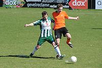 VOETBAL: JOURE: Sportpark de Hege Simmerdyk, 20-04-2013, Amateurvoetbal 2012-2013, SC Joure zat. afd. - VV Oudehaske, Vincent Groeneveld (#8) Elmer Hartsema (#7), Eindstand 1-1, ©foto Martin de Jong