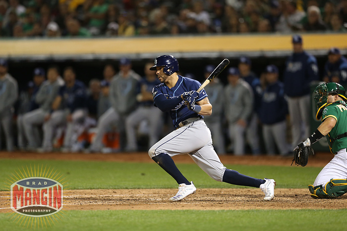 OAKLAND, CA - OCTOBER 02:  Tommy Pham #29 of the Tampa Bay Rays bats against the Oakland Athletics during the American League Wild Card Game at RingCentral Coliseum on Wednesday, October 2, 2019 in Oakland, California. (Photo by Brad Mangin)