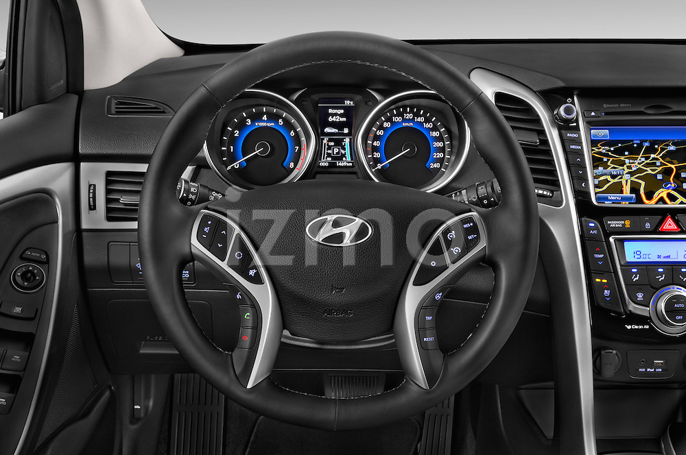 Car pictures of steering wheel view of a 2015 Hyundai I30 Joy 5 Door Hatchback