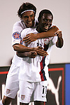 11 March 2008: Kamani Hill (USA) (left) hugs Freddy Adu (USA) (11) after Adu's first half goal. The United States U-23 Men's National Team tied the Cuba U-23 Men's National Team 1-1 at Raymond James Stadium in Tampa, FL in a Group A game during the 2008 CONCACAF's Men's Olympic Qualifying Tournament.