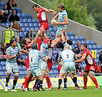 Oxford, England. Geoff Parling of Leicester Tigers wins a high ball during the Aviva Premiership match between London Welsh  and Leicester Tigers at Kassam Stadium on September 2, 2012 in Oxford, England.