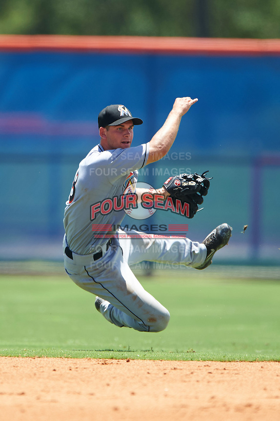 GCL Marlins second baseman Mathew Brooks (8) throws to first during a game against the GCL Mets on August 12, 2016 at St. Lucie Sports Complex in St. Lucie, Florida.  GCL Marlins defeated GCL Mets 8-1.  (Mike Janes/Four Seam Images)