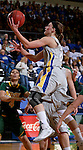 BROOKINGS, SD - JANUARY 31:  Megan Waytashek #24 from South Dakota State University takes the ball to the basket against North Dakota State University in the first half of their game Saturday afternoon at Frost Arena in Brookings. (Photo by Dave Eggen/Inertia)
