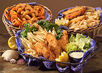 Seafood menu offerings, including fish and chips.