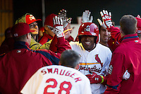 Xavier Scruggs #15 of the Springfield Cardinals celebrates in the dugout after hitting a home run during a game against the Tulsa Drillers at Hammons Field on May 4, 2013 in Springfield, Missouri. (David Welker/Four Seam Images)