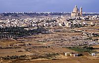Gozo, Malta.  Farmland, town of Xewkija in middle distance.