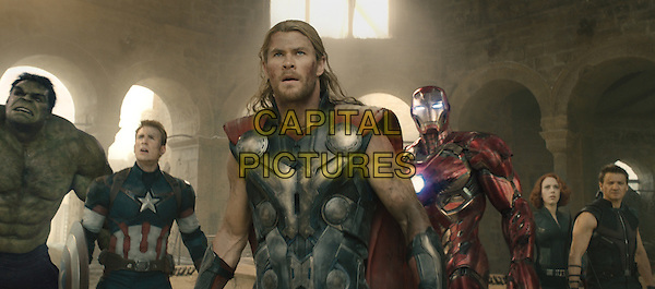 Mark Ruffalo, Chris Evans, Chris Hemsworth, Robert Downey Jr., Scarlett Johansson, Jeremy Renner<br /> in Avengers: Age of Ultron (2015) <br /> *Filmstill - Editorial Use Only*<br /> CAP/NFS<br /> Image supplied by Capital Pictures