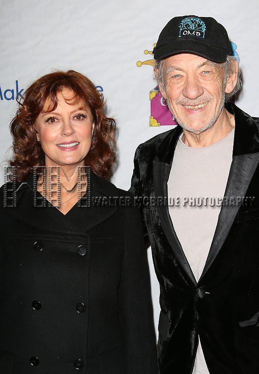 Susan Sarandon and Sir Ian McKellen attend the 14th Annual 'Only Make Believe' Gala at the Bernard B. Jacobs Theatre on November 4, 2013  in New York City.