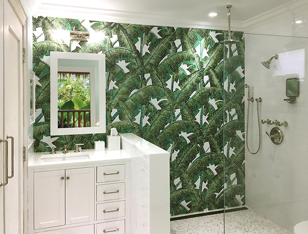 Custom hand-cut jewel glass Banana Leaf mosaic by New Ravenna.<br />
