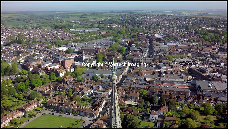 BNPS.co.uk (01202 558833)<br /> Pic: VertechImaging/BNPS<br /> <br /> Spectacular views of Salisbury from the top of the Catherdal spire.<br /> <br /> These incredible images show Salisbury Cathedral like it's never been seen before - from the skies.<br /> <br /> Canny cathedral staff came up with the novel idea of using a drone to survey hard-to-reach parts of the 13th century building including its enormous 400ft spire, the tallest in Britain.<br /> <br /> Using the drone's onboard camera they were able to record high quality footage of both the outside and inside of the 795-year-old medieval building.<br /> <br /> As well as being a great help to staff, who have an ongoing battle to repair the building, the footage gives a birds-eye view of the cathedral, considered one of Britain's most important historical buildings.