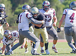 Palos Verdes, CA 09/16/16 - Jeffrey Jimena (Peninsula #6) and Ivan Ramirez (Torrance #7) in action during the Torrance - Palos Verdes Peninsula CIF Varsity football game.
