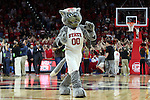 25 January 2015: NC State mascot Mr. Wuf. The North Carolina State University Wolfpack played the University of Notre Dame Fighting Irish in an NCAA Division I Men's basketball game at the PNC Arena in Raleigh, North Carolina. Notre Dame won the game 81-78 in overtime.