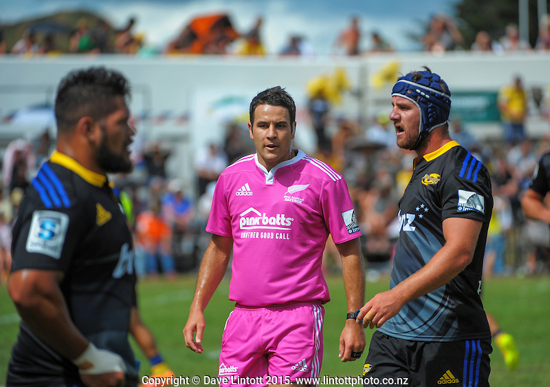 Referee Ben O'Keefe during the Super Rugby preseason match between the Hurricanes and Crusaders at Eketahuna, New Zealand on Saturday, 31 January 2015. Photo: Dave Lintott / lintottphoto.co.nz