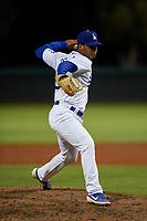 AZL Dodgers Lasorda relief pitcher Franklin De La Paz (86) during an Arizona League game against the AZL Athletics Green at Camelback Ranch on June 19, 2019 in Glendale, Arizona. AZL Dodgers Lasorda defeated AZL Athletics Green 9-5. (Zachary Lucy/Four Seam Images)