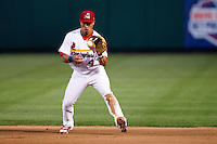 Kolten Wong (4) of the Springfield Cardinals fields a ground ball during a game against the Arkansas Travelers at Hammons Field on June 13, 2012 in Springfield, Missouri. (David Welker/Four Seam Images)