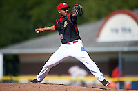 Batavia Muckdogs relief pitcher Victor Delgado (27) during a game against the Auburn Doubledays on September 5, 2016 at Dwyer Stadium in Batavia, New York.  Batavia defeated Auburn 4-3. (Mike Janes/Four Seam Images)