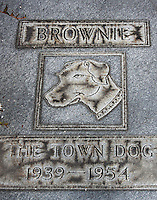 """A monument to """"Brownie"""", the """"Town Dog"""" of Daytona Beach, FL from 1939 to 1954, located on Beach Street in downtown Daytona Beach, FL.  (Photo by Brian Cleary/www.bcpix.com)"""