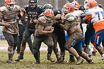 ANSONIA, CT. 02 December 2018-120218 - Ansonia's Terjuan Burney #54 puts his hands in front to stop Bloomfield's Ky'Juon Butler #45, as he runs with the ball during the Class S Semi-final game between Bloomfield and Ansonia at Ansonia High School in Ansonia on Sunday. Bloomfield held on to beat Ansonia 26-19 and advances to the Class S Championship game next week. Bill Shettle Republican-American