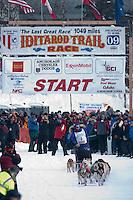 Musher # 3 Nancy Yoshida at the Restart of the 2009 Iditarod in Willow Alaska