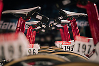 Trek-Segafredo putting the data-transponders on the bikes <br /> <br /> Stage 1: Noirmoutier-en-l'&Icirc;le &gt; Fontenay-le-Comte (189km)<br /> <br /> Le Grand D&eacute;part 2018<br /> 105th Tour de France 2018<br /> &copy;kramon