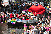Amsterdam, The Netherlands. 6 August 2016. Boat of search engine Google. The annual LGBT Canal Parade takes place during EuroPride 2016 on Prinsengracht in Amsterdam.