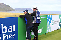Andy Sullivan (ENG) and caddy sean Mcdonagh wait on the par3 14th tee during Thursday's Round 1 of the 2018 Dubai Duty Free Irish Open, held at Ballyliffin Golf Club, Ireland. 5th July 2018.<br /> Picture: Eoin Clarke | Golffile<br /> <br /> <br /> All photos usage must carry mandatory copyright credit (&copy; Golffile | Eoin Clarke)