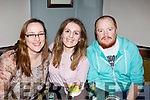 Helena McDonagh, Liranda Kranniqi and Kevin O'Reilly enjoying the Aspen Grove Quiz Music Night in the Munster Bar on Friday night last.