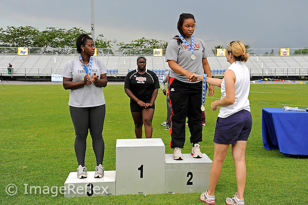 11 May 2013:  Winners of the Women's Discus Throw are honored at the 2013 Sun Belt Conference Outdoor Track & field Championships at the Ansin Sports Complex in Miramar, Florida.