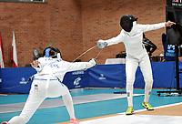BOGOTA – COLOMBIA – 27 – 05 – 2017: Laura Castillo (Izq.) de Colombia, combate con Maria de los Angeles Jaramillo de Colombia, durante Damas Mayores Epee del Gran Prix de Espada Bogota 2017, que se realiza en el Centro de Alto Rendimiento en Altura, del 26 al 28 de mayo del presente año en la ciudad de Bogota.  / Gabriel Canaux (L) from United States, fights with Maria de los Angeles Jaramillo (R) from Colombia, during Senior Women´s Epee of the Grand Prix of Espada Bogota 2017, that takes place in the Center of High Performance in Height, from the 26 to the 28 of May of the present year in The city of Bogota.  / Photo: VizzorImage / Luis Ramirez / Staff.
