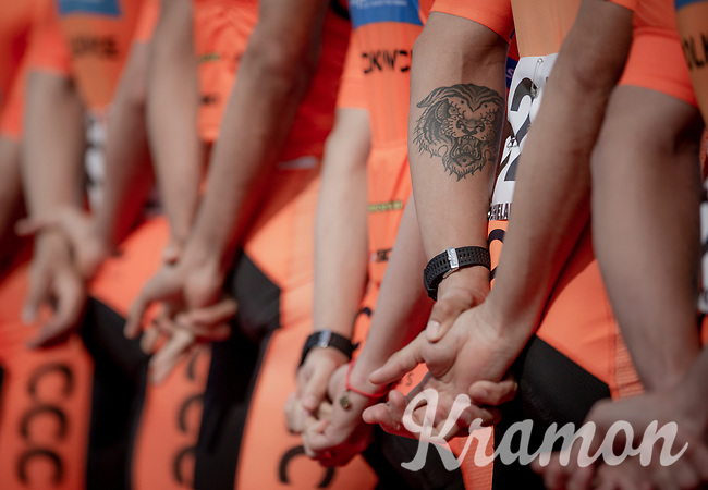 Pawel Bernas (POL/CCC) tiger tattoo at the pre race Team Presentation. <br /> <br /> <br /> 1st Great War Remembrance Race 2018 (UCI Europe Tour Cat. 1.1) <br /> Nieuwpoort > Ieper (BE) 192.7 km